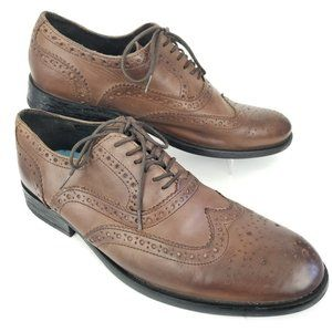 Base London Leather Oxford Wingtip Lace Up Shoes